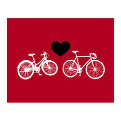 Hybrid-Home - Limited Edition Print Bike Love - Red - Fans of cycling and bold colors take heart. This is artwork for you. It's all about keeping things rolling while staying in one place and enjoying your view.