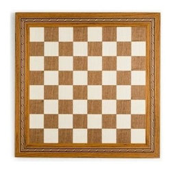 Cambor - Mosaic Border Inlay Chess & Checker Board in Sycamore & Walnut - An intricate mosaic border adds visual interest to this stunning wood game board, perfect for a game room or to display treasured chess pieces. Crafted of walnut and maple in sycamore and walnut finishes, the board features inlaid detailing with a raised wood frame. Made of Wood. Sycamore/Walnut color. Inlaid Maple/Walnut with decorative mosaic borders. High polished surface. Made in Spain. Squares: 1.75 in.. 17.5 in. L x 17.5 in. W x 0.625 in. H (6 lbs.)