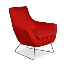 Inmod - Becca Lounge, Red Fabric - Elegantly modern and ultracomfortable, our Becca Lounge is the perfect addition to a living room, lounge, or entryway and also serves as the perfect dressing area furniture.