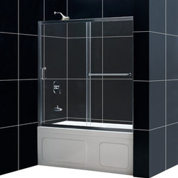 DreamLine - DreamLine SHDR-0960580-01 Infinity-Z 56 to 60in Frameless Sliding Tub Door, Clea - The Infinity-Z sliding tub door delivers a classic design with a fresh attitude. Features of convenience like a handy towel bar and fast release wheels that make cleaning the glass and track a cinch are combined with the modern appeal of a frameless glass design. Choose the simply sophisticated style of the Infinity-Z sliding tub door. 56 - 60 in. W x 58 in. H ,  1/4 (6 mm) clear tempered glass,  Chrome or Brushed Nickel hardware finish,  Frameless glass design,  Width installation adjustability: 56 - 60 in.,  Out-of-plumb installation adjustability: Up to 1 in. per side,  Anodized aluminum profiles and guide rails,  Convenient towel bar on the outside panel,  Aluminum top and bottom guide rails may be shortened by cutting up to 4in,  Door opening: 21 3/8 - 25 3/8 in.,  Stationary panel: 27 in.