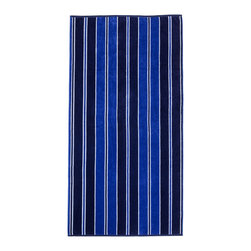Superior - Superior Collection Luxurious Jacquard Cotton Beach Towel - Aqua Stripe - Relax and dry off in style with these velour terry cloth beach towels from Superior. This fun design features a medley of varying degrees of Blue.