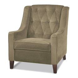 Ave Six - Tufted Chair in Coffee - Avenue Six Curves - This chair is both durable and comfortable and features a stylish design. Features thick padding and mocha fabric to easily coordinate with virtually any d̩cor. Pair with other items in this collection or use to accent your current d̩cor. Made of Fabric / Wood. Coffee fabric. Solid wood outer frame and legs. Dacron wrapped foam cushions. High performance, easy care olive microfiber. Fabric upholstery kiln dried hardwood inner frame. 33 in. L x 32 in. W x 40 in. H