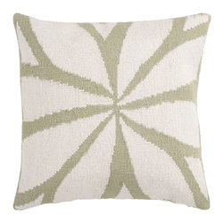 "Surya - Square Pillow FA-013 - 18"" x 18"" - Resembling the leaves on a flower, this trendy design brings today's style right to your room. Colors of green and ivory accent this decorative pillow. This pillow contains a poly fill and a zipper closure. Add this pillow to your collection today."