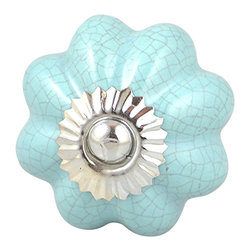 Charleston Knob Company - SET OF 2 Ceramic Crackled Knobs - Pumpkin Light Blue - Cheerful and refreshing, in warm and cool colors for every palette and surface  in your life.