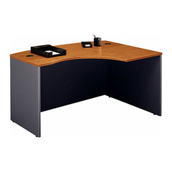 """Bush Business - Right """"L"""" Shaped Desk in Natural Cherry - Ser - The Right """"L"""" Shaped Natural Cherry Series C Desk adds character and class to any contemporary office setting!  This stylish, ergonomically designed desk features a durable, scratch resistant melamine surface and desktop & modesty panel grommets for concealed wire access. * Accepts Universal or Articulating Keyboard Shelf. L-Bow desk allows user to face approach side while keyboarding, and affords greater computer screen privacy. Accepts Right Return. Desktop & modesty panel grommets for wire access and concealment. Durable melamine surface resists scratches and stains. Durable PVC edge banding protects desk from bumps and collisions. 58.858 in. W x 42.874 in. D x 29.842 in. H"""