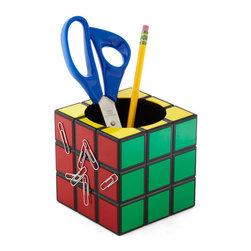 Room for the Cube Desk Organizer - This brings back memories! This Rubik's Cube pencil holder — that's magnetized to boot! — is a nice, bright pop of color. Alas, I could never find the secret of solving the Rubik's Cube.