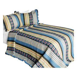 Blancho Bedding - Mr. Curiosity Cotton 3PC Vermicelli-Quilted Printed Quilt Set  Full/Queen - Set includes a quilt and two quilted shams (one in twin set). Shell and fill are 100% cotton. For convenience, all bedding components are machine washable on cold in the gentle cycle and can be dried on low heat and will last you years. Intricate vermicelli quilting provides a rich surface texture. This vermicelli-quilted quilt set will refresh your bedroom decor instantly, create a cozy and inviting atmosphere and is sure to transform the look of your bedroom or guest room. Dimensions: Full/Queen quilt: 90 inches x 98 inches  Standard sham: 20 inches x 26 inches.