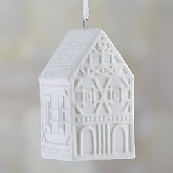 """Ceramic 3.5"""" House Ornament - Our little village of sophisticated gingerbread-style houses is rendered in white porcelain with a soft matte finish for elegant holiday decorating."""