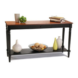 Convenience Concepts - French Country Console Table in Cherry and Bl - Pull out drawer and lower shelf. Solid rubber wood legs. Top, apron and shelf are made from MDF with oak veneer. Limited warranty. Assembly required. 48 in. W x 15 in. D x 30 in. H (48 lbs.)Matches other items in French Country Collection.