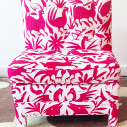 Otomi Accent Chair - The bold pink pattern on this chair would be delicious in a child's room or nursery. It is playful without being too precious.