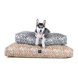 Hemp Safari Dog Bed -Gold - 29 x 36 - Elegant animal print comes to your home's animals with the Hemp Safari Dog Bed, a beautiful round cushion in vibrant high-contrast neutrals.  The machine-washable cover is made from an ecologically responsible blend of hemp and cotton, while the richly padded insert is spun from recycled plastics for a mildew-resistant, health-conscious pet bed.