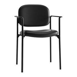 Hon - Basyx Guest Armchair, 4-Leg Base - What are you waiting for? You need new visitor seating for your waiting room and this armchair has everything you need. It's made of strong tubular steel with a black-padded seat and back. And it stacks up to four high so you can save on space when they're not in use.