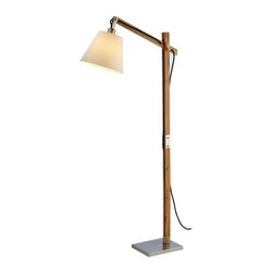 Adesso - Adesso Walden Floor Lamp, Natural - 4089-12 - The rustic modified balance arm natural wood lamp have wood pegs for adjusting shade height and angle