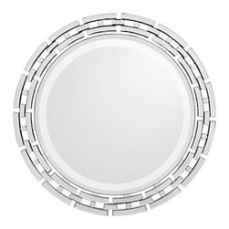 Z Gallerie - Forza Mirror - Its easy to glamorize a room by simply adding our sensational Forza mirror to your wall. The 36.75 inch diameter mirror fits nicely in so many places and can look just right in any decor, from contemporary to classic. The 0.4 inch deep beveled mirror is mounted on a Black wooden board and surrounded by an openwork detailed design of individually beveled rectangles that follow the curve, interspersed with circular mirrored pieces.