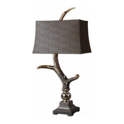 Uttermost - Stag Horn Dark Shade Table Lamp - This lamp has a burnished bone ivory finish with a crackled wood tone base and cast aluminum accents. The rectangle semi drum shade is a sueded chocolate textile.
