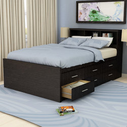 """dCOR design - Willow Captain's Bookcase Storage Platform Bed - Features: -Willow collection. -Satin finish aluminum drawers pulls. -12 Generous Euro glide storage drawers. -Comes with bookcase headboard. -Platform design, no box spring required. -Contemporary design. Dimensions: -44.75"""" H x 56.5"""" W x 89.25"""" D, 296 lbs."""