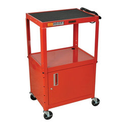 H. Wilson - 18 in. Adjustable AV Cart w Casters in Red - Includes two sets of keys. Full piano hinge door cabinet. Three outlet electrical assembly with 15 ft. cord. Non-slip rubber mat for top shelf. Arc-welded shelves. Top and middle shelves holes for cable management. Four 4 in. full swivel ball bearing casters, two with locking brake. 0.25 in. retaining lip around each shelf. Weight capacity: Up to 200 lbs.. Cabinet made from 18 gauge steel. 24 in. L x 18 in. W x 24 in. - 42 in. H. Warranty. Assembly Instructions