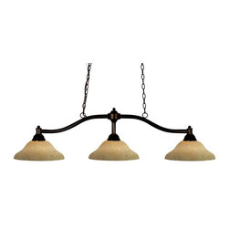 """Three Light Bronze Golden Mottle Glass Pool Table Billiard Light - With its traditional and rich bronze finish, this fixture will bring traditional elegance to any space. Complimentary gold mottle shades are paired with this three light fixture, and has 72"""" of chain per side is included to ensure the perfect hanging height."""