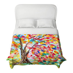DiaNoche Designs - Poetry of a Tree Duvet Cover - Lightweight and super soft brushed twill duvet cover sizes twin, queen, king. Cotton poly blend. Ties in each corner to secure insert. Blanket insert or comforter slides comfortably into duvet cover with zipper closure to hold blanket inside. Blanket not included. Dye Sublimation printing adheres the ink to the material for long life and durability. Printed top, khaki colored bottom. Machine washable. Product may vary slightly from image.