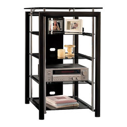 Bush - Bush Midnight Mist Audio Rack 3 Fixed Shelves - Bush - Audio Racks - AD4484003 - The modern home will appreciate this evolution in style. The Bush Furniture Midnight Mist Audio Rack satisfies the need for flexibility in entertainment furnishings. This chic audio and electronics stand features sleek industrial-persuasion design sensibilities, with chromed steel supports and tempered glass.