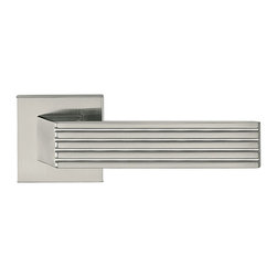 Door Lever Set Hamburg, Satin Chrome - This modern and stylish lever set will enhance your interior door and makes it a true conversational piece. It is from solid cast iron and available in different finishes. The set includes the handles on both sides, both rosettes and the mortise lock for passage or privacy. This lever set is made for custom doors that are not pre-hung or prepped for standard handles.