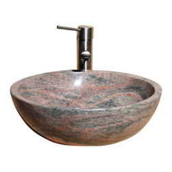 The Allstone Group - V-VR166 Mojave Red Polished Vessel Sink - Natural stone strikes a balance between beauty and function. Each design is hand-hewn from 100% natural stone.  Vessel sinks can be the most inspiring feature in a bathroom, adding style and beauty to any bath space.  Stone not only is pleasing to the eye but also has the feel of something natural and solid.