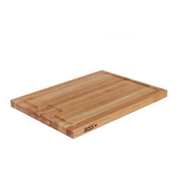 John Boos - John Boos AU JUS Cutting Board - Don't like the mess of chopping? Use the well around this cutting board to separate scraps from your veggies and catch running juice from your meats. Once you're ready to cook, the handy recessed finger grips allow you to carry it safely across the kitchen without spilling a thing.