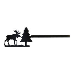 Village Wrought Iron - 22 Moose & Pine Curtain Rods - 22 Moose & Pine finely crafted curtain rods are available in four sizes. 21-35 inch, 36-60 inch, 61-112 inch and 113-130 inch. Rod lengths do not include the Silhouette or Finial ends. Standard end bracket mounting hardware and screws are included unless an alternate rod mounting hardware is selected. Our curtain rods are decorative, functional, long lasting and handcrafted in the USA using the finest materials and time- tested methods of craftsmanship. Quality and durability are priorities for our products. Our coated products have one of the most long-lasting finishes available - a flat black baked-on powder coated finish that will last for many years. Silhouette approximate size is 5 1/4 Inch W x 3 1/2 Inch H. Rod diameter is .50 inch. Silhouettes are welded in place for added security. Standard Center Support mounting hardware and screws are included for curtain rods 61 inches and longer unless alternate mounting hardware is selected. Supporting American Workers where the timeless trade of ironworking can still be found.