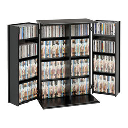 Prepac - Prepac Black Small Deluxe Multimedia Storage Cabinet with Lock - Have your media collection out of sight but close at hand with our locking media storage cabinet. With doors that lock and allow 180 degree movement, you can access your collection just as easily as you can keep it out of view and reach. This cabinet will accommodate your collection thanks to its fully adjustable shelves, and its horizontal storage makes organizing and re-sorting a snap. It's the perfect addition to your family room.