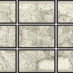 Augustus Mitchell - Repro Fine Art Giclee Print Sectioned Map of the USA - Product Details