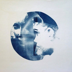 Her: London (Original) by Erin Galvez - Cyanotype print of mannequin target. Photo taken in London 1999.