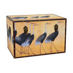 Oriental Furniture - Cranes Storage Trunk - A flock of cranes stride nobly along the sides of this charming canvas trunk. An important symbol of happiness and eternal youth in Asia, cranes are thought to bring good fortune and joy. Handsomely printed on art-quality canvas, wrapped around a kiln-dried wood frame, and framed by faux leather edges with just the right amount of matching rivets, this chest delivers great value at an affordable price. Lightweight, portable and sporting an attractive pair of handles, this trunk is easy to move when redecorating. Further conveniences include an internal arm that holds the lid when you want it open and elegant closures to keep it shut when you don't. This trunk is bound to look great wherever it is placed and the cranes just might bring some good fortune too!
