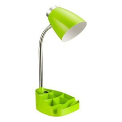 Limelights - Green Desk Lamp: 4.5 in. Neon Green Gooseneck Organizer Desk Lamp with iPad Stan - Shop for Lighting & Fans at The Home Depot. Style and functionality meet with this fun organizer desk lamp with iPad stand. It is beautifully finished in vibrant neon green color and comes equipped to hold many of the important essentials needed in a desk organizer. The flexible chrome gooseneck allows you to point the light exactly where you need it. ON/OFF flip switch is located on the base for convenience. Organizer includes 8 compartments for storing pens, pencils, paper clips, etc. It also has a spot to rest your iPad, book, or notebook for easy viewing. Perfect for office, kids room, or college dorm.