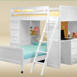 Children Twin over Twin Solid Hardwood Loft Bed with Built-in Desk Chest - This loft bed is of high quality construction featuring metal-to-metal connection for durability, kilns dried wood, full rolls of under bed slats, metal-to-metal connections for guardrails, barrel nut hardware for quality construction and warp-free bed rails with ply construction.