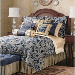 Jennifer Taylor Hampton Comforter/Duvet Set - The Jennifer Taylor Hampton Comforter/Duvet Set features a royal color palette, oversized damask design, and stripe pattern to make it a striking combination of feminine and masculine. Rich blue and tan in shimmering stripes and shantung silk make this bedding collection desirable. It is available in a variety of size options, each with coordinating pillow shams finished with striped trim, tastefully finished edges, and satiny smooth fabrics.Additional Details10-piece set: 1 comforter/duvet: 110 x 96 inches1 bed skirt: 78 x 80 inches (18-inch depth)3 Euro shams: 26 x 26 inches2 kings shams: 21 x 37 inches3 décor pillows9-piece set: 1 comforter: 93 x 96 inches1 bed skirt: 60 x 80 inches (18-inch depth)2 Euro shams: 26 x 26 inches2 standard shams: 20 x 27 inches3 décor shams4-piece set: 1 comforter: 104 x 96 inches1 bed skirt: 60 x 80 inches (18-inch depth)2 king shams: 21 x 37 inchesAbout ACG Green Group, Inc.ACG Green Group is a home furnishing company based in Irvine, California and is a proud industry partner with the American Society of Interior Designers. ACG Green features Jennifer Taylor and Sandy Wilson, their exclusive home décor lines. These two complete collections offer designer home furniture, bedding sets, dining linens, curtains, pillows, and more in classic silhouettes, original designs, and rich colors to complement your home and life.