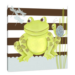 "Doodlefish - Frog on Stripes - This artwork is an 18"" x 18"" Gallery Wrapped Giclee Print of Smiling Frog and his friends. The background features contemporary brown graphic strips and waves.   This artwork is also available mounted in a painted frame of your choice.    The finished size of the mounted piece is approximately 22""x22""."