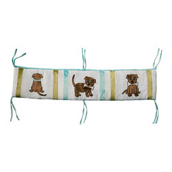 "Puppy Pal Boy - Crib Bumper - ""Puppy Pal"" Bumper is the cutest all around!  4 pc bumper is a combination of ""One Grace Place"" designer cotton print fabric and soft minky fabric.  Bumper is full life"" with our ""Puppy Pal"" showcased throughout using details in the collections blue and green hues!"