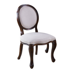 Great Deal Furniture - Sheridan Beige Fabric Oak Wood Dining Chairs (Set of 2), Beige Scroll Pattern - The Sheridan Dining Chair is a perfect fit for any space in your home. Enjoy the traditional, Queen Anne style circular backrest and comfortable padded seats that are both embellished with decorative beige scroll pattern fabric. This chair also features dark brown oak wood trim and curved legs. Line these chairs on the sides of your dining table for an impressive dining scape.