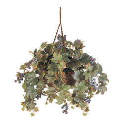 """Nearly Natural - Grape Leaf Hanging Basket Silk Plant - You have to check out this grape leaf hanging basket!  This brilliant silk plant features 204 full green leaves and grape colored berries that are bursting from a beautiful 8"""" wicker basket.  You'll notice some of the leaves have browns and reds running through them to give that extra sense of realism.  This silk plant is certain to turn the heads of all those in its presence.    Color: Green, Height: 8""""."""
