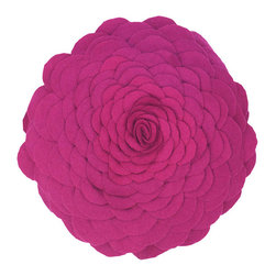 EcoFirstArt - Round Decorative Pillow - Elegantly sculpted of soft felt petals, this lovely pillow will allow you to feature a rose blossom on your favorite chair or day bed.