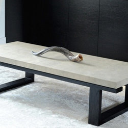 Custom Made Shagreen Coffee Tables - Custom made coffee table with top wrapped in faux shagreen. Base is in rift oak finished in dark stain.