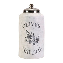 Vintage Olive Jar w/ Nickel Lid - Large - *This large decorative lidded jar is made from terracotta and features an antiqued white finish and olive branch graphic.