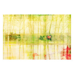 "Parvez Taj - Wall Prints - Sparron Lake - 30""x40"" - Is it time for a different point of view? Artist Parvez Taj offers a unique world perspective. Using photographs, software and special UV-cured inks, he re-creates the effects of sunlight on water and trees. And that, in turn, creates a remarkable look for your living room, office or bedroom walls."