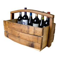 Alpine Wine Design - Wine Stave Basket - A tisket, a tasket, a special wine-filled basket. Filled with wine, or empty, this holder makes a great gift. It's crafted by artisans from reclaimed wine barrel staves and other woods, then it's coated to show off the gorgeous patina and wine-stained grains.