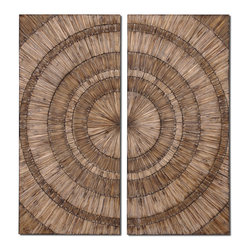 Uttermost - Lanciano Wood Wall Art - Would wood chips do? This burnished two-panel piece answers that beautifully. Natural Fir wood pieces are hand placed to form a dual-toned spiral pattern. A small space between the wood chip panels highlights your living room or dining room wall colors.