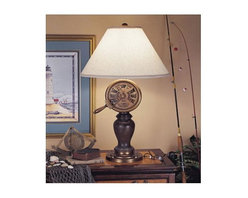 Mario Industries - Captains Telegraph Table Lamp - A true nautical feel with this telegraph lamp. Bulbs not included. Socket type: 3-way. UL Listed. Color/Finish: Brown. Overall Height: 32 in.. Shade Material: Brussels cream linen. Shade Dimensions: 20 x 7 x 13 in.
