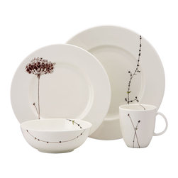 Lenox - Lenox Flourish 4-Piece Dinnerware Place Setting - Add flourish to any table setting with this artsy floral pattern from Lenox. The design features a slender stem from edge to edge on the dinner plate. The design continues on the salad plate, where it blooms into a colorful flower.