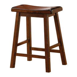 Adarn Inc - Transitional Black Finish Wooden Bar Stool, Walnut - With casual and simple designs, this bar stool will make a great addition to a relaxed environment in your home. The wooden composition consists of shapely scooped seating, straight wood legs and a sleek black finish. Whether you need extra seating for guests or want to create a casual dining atmosphere, this bar stool offers a humble style that is sure to mix well with existing decor.