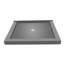 Tileredi - TileRedi P3648CDT-PVC 36x48 Triple Curb Pan Center Drain - TileRedi P3648CDT-PVC 36 inch D x 48 inch W, Integrated Center PVC Drain with Triple Curb