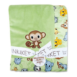 "Trend Lab - Receiving Blanket - Framed Chibi Zoo - Keep your little one warm and secure with this Chibi Zoo Framed Receiving Blanket by Trend Lab. Soft sage velour is surrounded by a charming cotton percale trim that features a scatter print of zoo animals in sage, gray stone, sky blue, caramel, buttercup, chocolate and white. Monkey embroidered applique in the bottom right hand corner adds the finishing touch! Blanket measures 30"" x 40""."